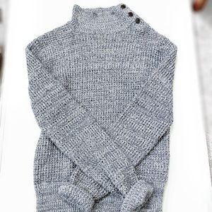 Grey and White Knitted Sweater